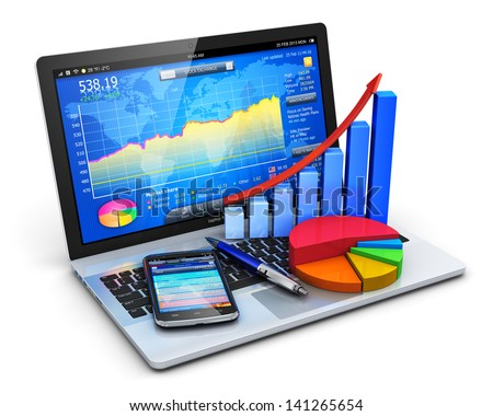 Mobile office, stock exchange market trading, accounting, financial development and banking business concept: notebook with stock market application, bar chart, pie diagram and smartphone isolated - stock photo