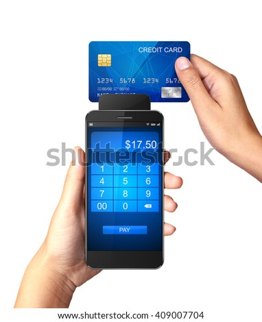 Mobile payment concept, Hand holding Smartphone with processing of mobile payments from credit card  - stock photo