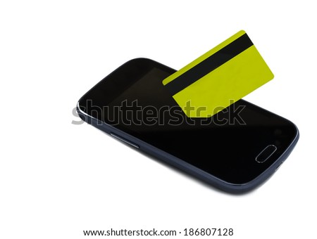 Mobile payment - isolated on white mobile device and plastic credit card