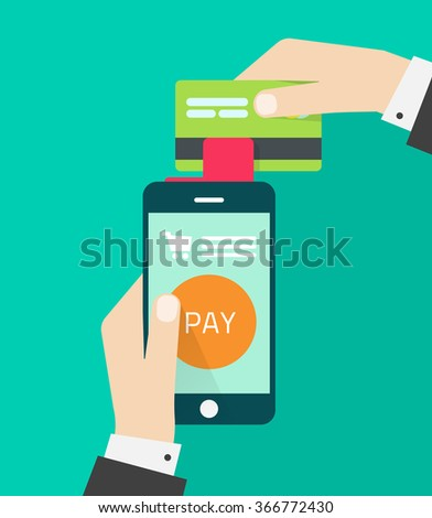 Mobile payment with man hands holding smartphone, credit card and red payment processing device, concept of paying technology, flat modern illustration design isolated green background image - stock photo
