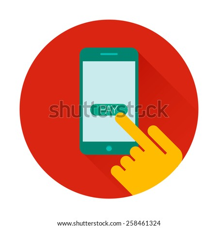 Mobile payments using smartphone, near field communication technology, online banking. NFC technology. Flat design style - stock photo