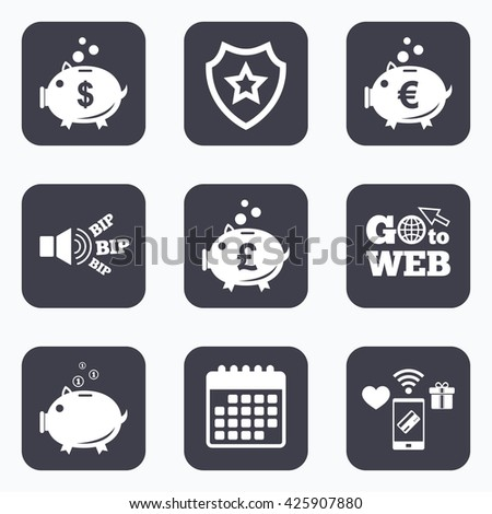 Mobile payments, wifi and calendar icons. Piggy bank icons. Dollar, Euro and Pound moneybox signs. Cash coin money symbols. Go to web symbol. - stock photo
