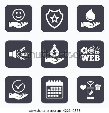 Mobile payments, wifi and calendar icons. Smile and hand icon. Water drop and Tick or Check symbol. Palm holds Dollar money bag. Go to web symbol.