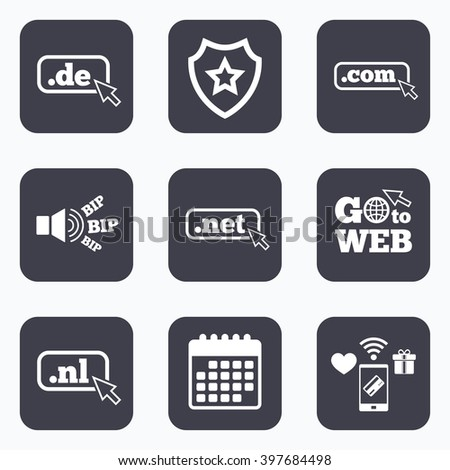 Mobile payments, wifi and calendar icons. Top-level internet domain icons. De, Com, Net and Nl symbols with cursor pointer. Unique national DNS names. Go to web symbol. - stock photo