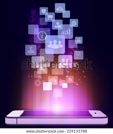 mobile phone and an icon in the flying squares - stock photo