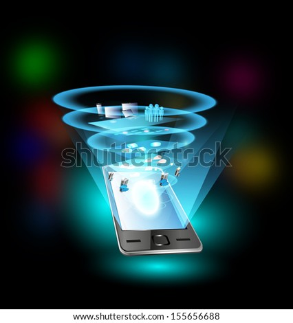 Mobile phone and application integration with people, process through SOA and ESB - stock photo