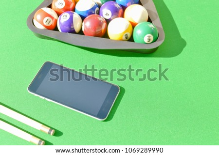 Mobile Phone Billiard Balls On Green Stock Photo Royalty Free - Mobile pool table