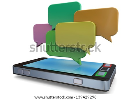 MOBILE PHONE AND CHAT- 3D - stock photo