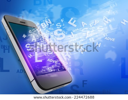 mobile phone and flying letters from the screen - stock photo