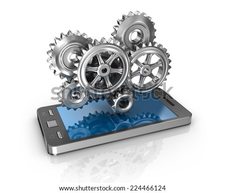Mobile phone and gears. Application development concept. - stock photo