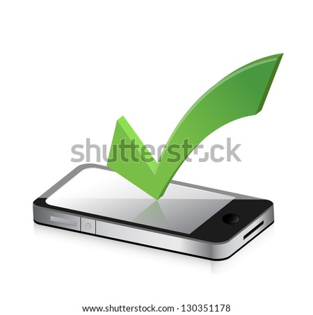 Mobile phone and icon with symbol of tick mark illustration design - stock photo