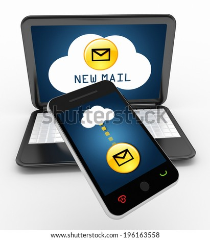 mobile phone and laptop cloud computing concept
