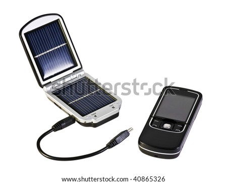 mobile phone and sparingly solar isolated on white - stock photo