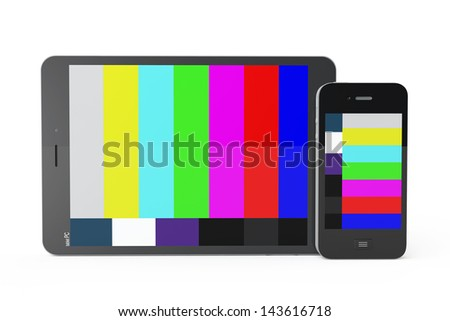 Mobile Phone and Tablet PC as Mobile TV on a white background - stock photo