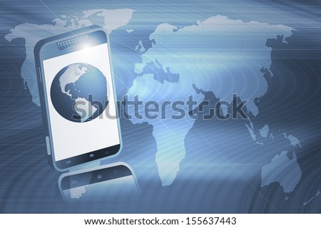 Mobile phone and The globe on abstract background. Concepts of information exchange.