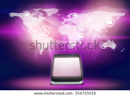 Mobile phone and world map digital image on color background - stock photo