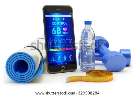 Mobile phone application for health monitoring after sport activity training and fitness workout, gym equipment: yoga mat, blue dumbbells, bottle of water and measuring tape isolated on white - stock photo