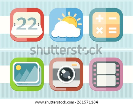 Mobile phone applications icons set of calculator weather calendar camera video in flat design isolated on stylish background. Raster version - stock photo