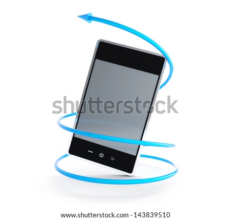 mobile phone arrow in a spiral 3d Illustrations on a white background