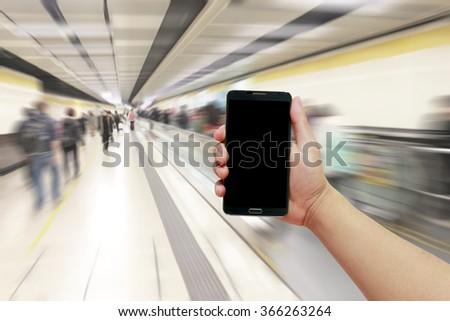 Mobile phone background Hong Kong subway Blurred Background. platform train milestone passengers rail business  man  mobile customers future store channel partner heaven phones communication - stock photo