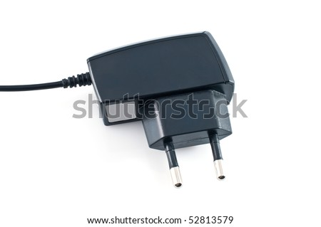 Mobile phone battery charger on white background - stock photo