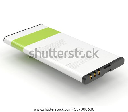 mobile phone battery 3D render - stock photo