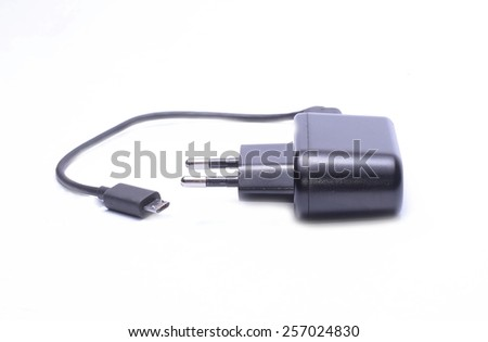 Mobile phone charger cable isolate on white background - stock photo