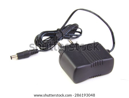 Mobile phone charger cable on white background - stock photo