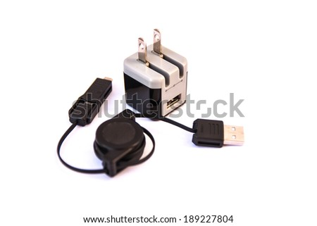 Mobile phone charger isolated on white background - stock photo