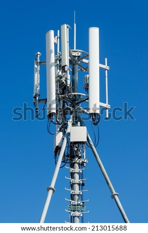 mobile phone communication repeater antenna. Mobile phone network antenna. - stock photo