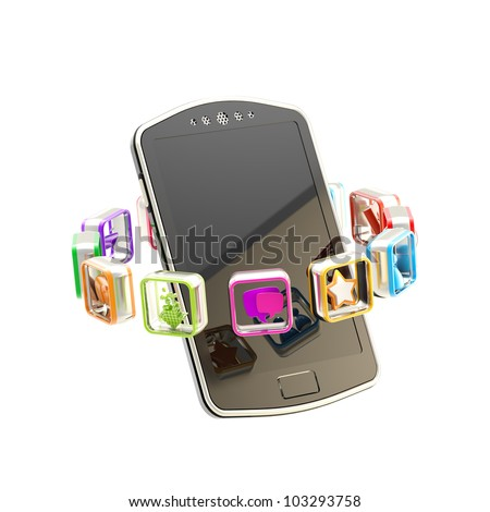 Mobile phone concept surrounded with circle of application app icons isolated on white - stock photo