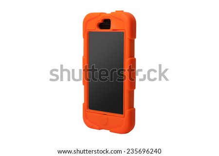 Mobile phone cover. Case for smartphone. Isolated on white background - stock photo