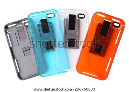Mobile phone covers on white background