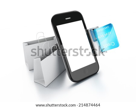 mobile phone device with a shopping bag. online shopping concept - stock photo
