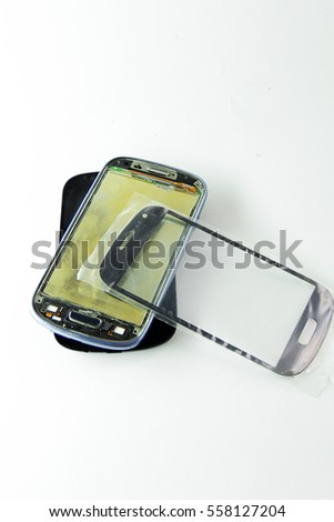 Mobile phone exploded view, on white background