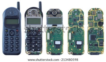 mobile phone from inside isolated - stock photo