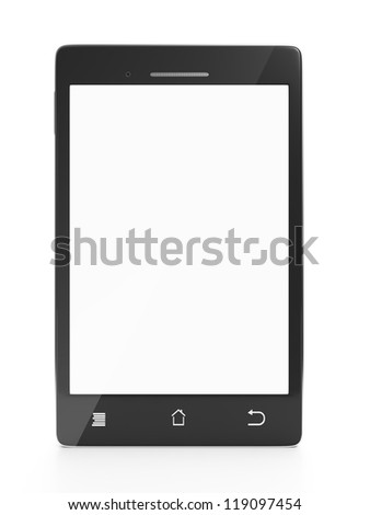 Mobile phone front on a white background close-up with a white screen