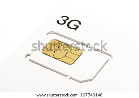 Mobile phone 3G sim card - stock photo