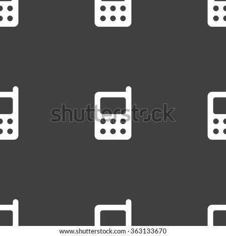 mobile phone icon sign. Seamless pattern on a gray background. illustration - stock photo
