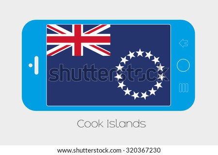 Mobile Phone Illustration with the Flag of Cook Islands