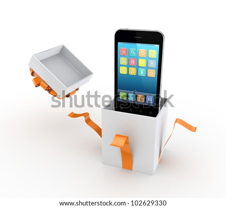 Mobile phone in a gift box.Isolated on white background.3d rendered. - stock photo