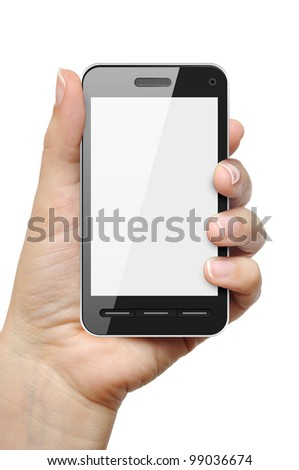 Mobile phone in female hand isolated on white background - stock photo