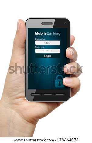 Mobile phone in female hand with mobile banking app - stock photo