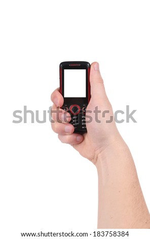 Mobile phone in hand. Isolated on a white background.