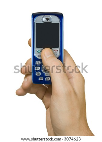 Mobile phone in hand, isolated on white background - stock photo