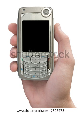 Mobile phone in hand on white background (isolated) - stock photo