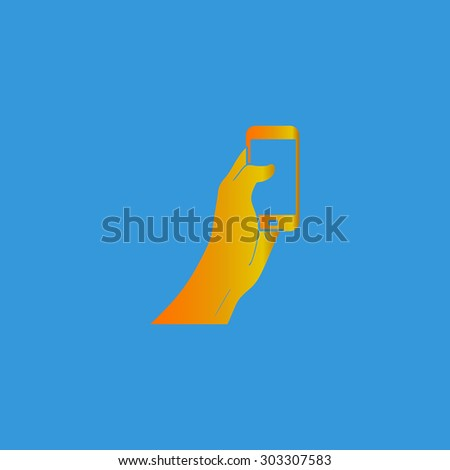 Mobile phone in hand. Simple flat icon on blue background