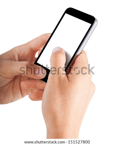 Mobile phone in hands isolated on white background - stock photo