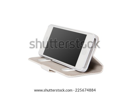 Mobile phone in the bag. Insulated background. - stock photo