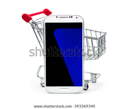 mobile phone in the basket